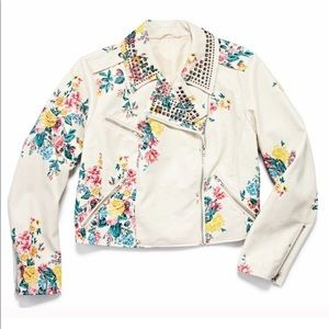ASHLEY NELL TIPTON Floral Vegan Leather Jacket 3X